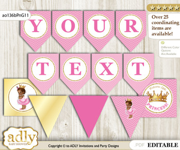 DIY Personalizable African Princess Printable Banner for Baby Shower, Crown, Chevron