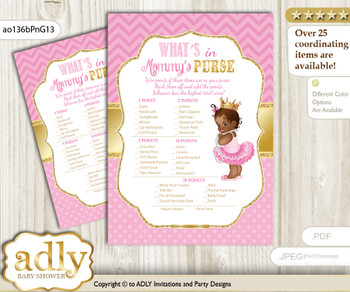 African Princess What is in Mommy's Purse, Baby Shower Purse Game Printable Card , Crown,  Chevron