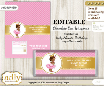 DIY Personalizable African Princess Chocolate Bar Candy Wrapper Label for African  baby shower, birthday Crown , editable wrappers