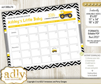 DIY Truck Construction Baby Due Date Calendar, guess baby arrival date game