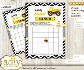 Printable Yellow Black Construction Bingo Game Printable Card for Baby Truck Shower DIY grey, Yellow Black, Chevron