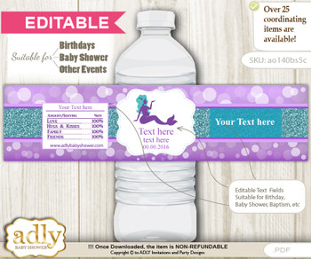 DIY Text Editable Sea Mermaid Water Bottle Label, Personalizable Wrapper Digital File, print at home for any event
