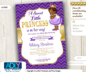 African American Princess,Purple Gold Baby Shower Digital invitation with Chevron Pattern