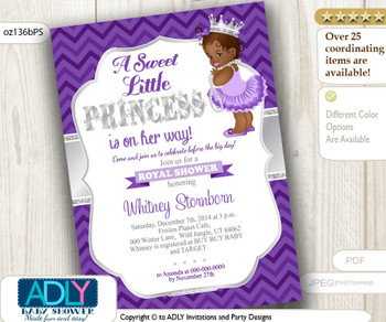 Grey Purple African American Princess Baby Shower with Chevron and Silver