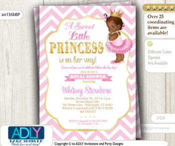 Pink, Gold African Princess with Tutu, Crown and Pearls Shower Invitation