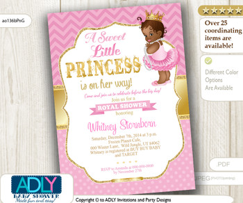 Chevron Polka Pink, Gold African Princess with Tutu, Crown and Pearls Shower Invitation