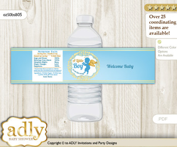 Boy Angel Water Bottle Wrappers, Labels for a Angel  Baby Shower, Gold Blue, Heaven