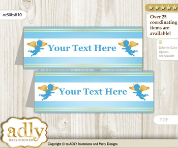DIY Text Editable Printable Boy Angel Buffet Tags or Food Tent Labels  for a Baby Shower or Birthday , Gold Blue, Heaven