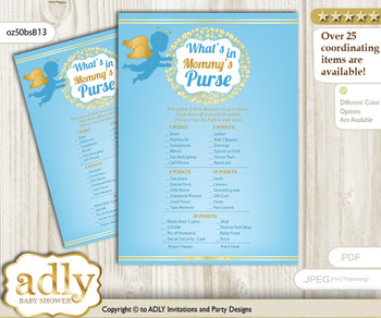 Boy Angel What is in Mommy's Purse, Baby Shower Purse Game Printable Card , Gold Blue,  Heaven