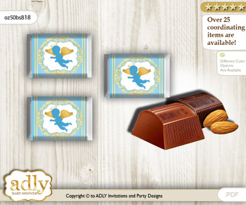 Boy Angel Chocolate Nuggets Candy Wrapper Label for Baby Boy Shower  Gold Blue , Heaven