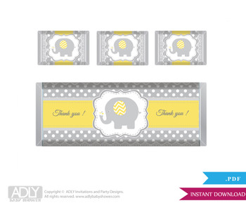 Neutral Elephant  Chocolate Bar Wrapper and Nuggets Candy Wrapper Label for Baby  NeutralShower  Yellow Grey ,  Chevron
