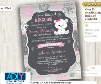 Winter  Snow Princess Polar Bear Baby Shower Invitation, icicle castle