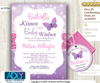 Purple Pink Butterfly Kisses and Baby WIshes Invitation for Baby Shower plus Thank You Favor Tag, butterfly invitation,lavender ao131bs