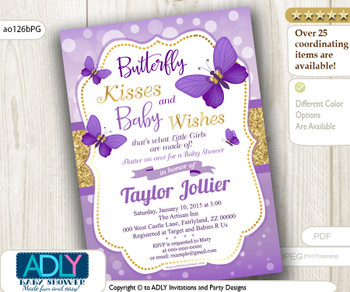 Purple Gold Butterfly Kisses Shower Invitation.Summer invitation. Glitter gold, purple bokeh butterfly digital invitation- ao126bPG