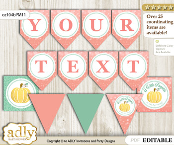 DIY Personalizable Gold Pumpkin Printable Banner for Baby Shower, Mint, Coral