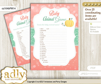 Printable Gold Pumpkin Baby Animal Game, Guess Names of Baby Animals Printable for Baby Pumpkin Shower, Mint, Coral