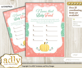 Gold Pumpkin Guess Baby Food Game or Name That Baby Food Game for a Baby Shower, Mint Coral
