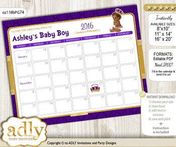 DIY Royal Prince Baby Due Date Calendar, guess baby arrival date game