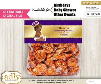 DIY Text Editable Royal Prince Goodie  Treat Bag Toppers, Favor Bag Digital File, print at home