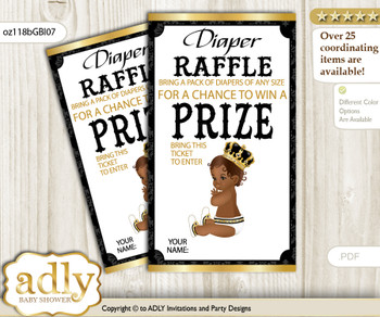 African Prince Diaper Raffle Printable Tickets for Baby Shower, Gold, Black