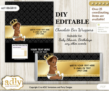 DIY Personalizable African Prince Chocolate Bar Candy Wrapper Label for African  baby shower, birthday Gold , editable wrappers