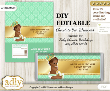 DIY Personalizable African Prince Chocolate Bar Candy Wrapper Label for African  baby shower, birthday Gold , editable wrappers nn