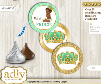 Printable  African Prince Candy Kisses for Baby African Shower DIY Gold , Mint