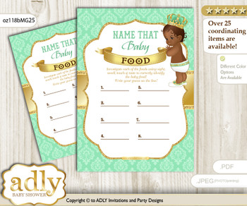 African Prince Guess Baby Food Game or Name That Baby Food Game for a Baby Shower, Gold Mint