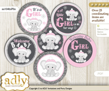 Baby Shower Girl Elephant Cupcake Toppers Printable File for Little Girl and Mommy-to-be, favor tags, circle toppers, Winter, Pink Grey