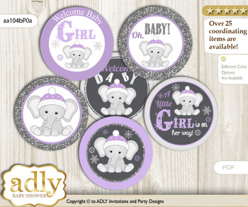 Baby Shower Girl Elephant Cupcake Toppers Printable File for Little Girl and Mommy-to-be, favor tags, circle toppers, Winter, Purple Grey