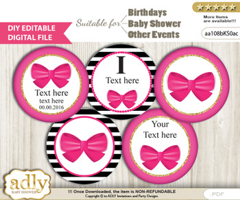 DIY Text Editable Girl Bow Cupcake Toppers Digital File, print at home, suitable for birthday, baby shower, baptism