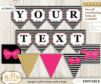 DIY Personalizable Girl Bow Printable Banner for Baby Shower, Pink Gold, Stripes