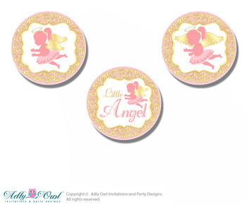 Printable Little Angel Candy Kisses for Baby Little Shower DIY Gold , Pink