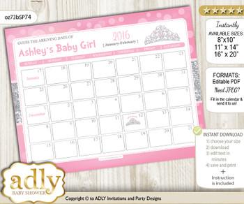 DIY Princess Tiara Baby Due Date Calendar, guess baby arrival date game