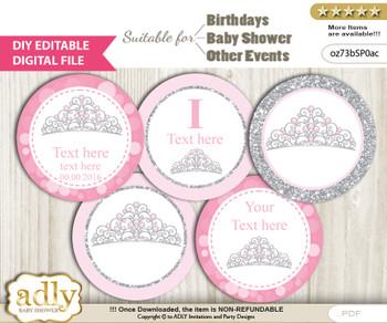 DIY Text Editable Princess Tiara Cupcake Toppers Digital File, print at home, suitable for birthday, baby shower, baptism