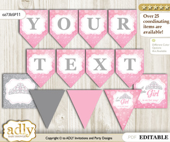 DIY Personalizable Princess Tiara Printable Banner for Baby Shower, Pink Grey, Crown