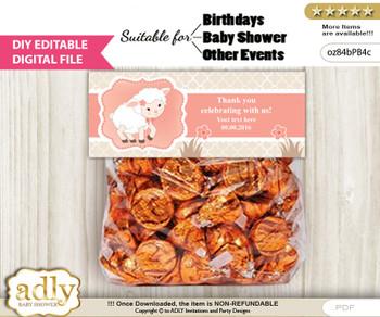 DIY Text Editable Girl Lamb Goodie  Treat Bag Toppers, Favor Bag Digital File, print at home  n