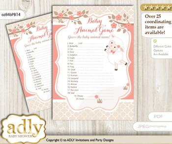 Printable Girl Lamb Baby Animal Game, Guess Names of Baby Animals Printable for Baby Lamb Shower, Coral, Sheep