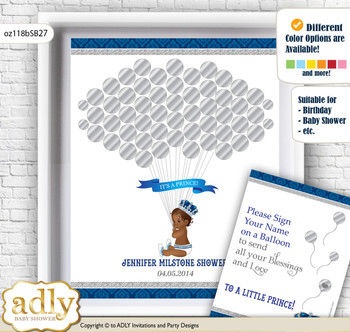 African Prince Guest Book Alternative for a Baby Shower, Creative Nursery Wall Art Gift, Silver blue, Crown
