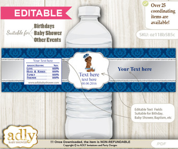 DIY Text Editable African Prince Water Bottle Label, Personalizable Wrapper Digital File, print at home for any event  nm