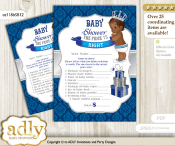 Printable African Prince Price is Right Game Card for Baby Prince Shower, Silver blue, Crown