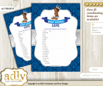 Printable African Prince Baby Animal Game, Guess Names of Baby Animals Printable for Baby Prince Shower, Silver blue, Crown