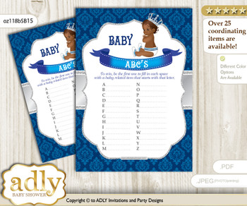 African Prince Baby ABC's Game, guess Animals Printable Card for Baby Prince Shower DIY – Crown
