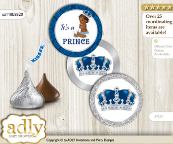 Printable  African Prince Candy Kisses for Baby African Shower DIY Silver blue , Crown