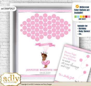 African Princess Guest Book Alternative for a Baby Shower, Creative Nursery Wall Art Gift, Pink Silver, Royal