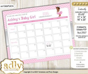 DIY African Princess Baby Due Date Calendar, guess baby arrival date game  h
