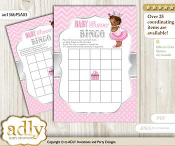 Printable Pink Silver Princess Bingo Game Printable Card for Baby African Shower DIY grey, Pink Silver, Royal