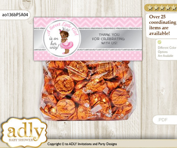 Printable African Princess Treat or Goodie bag Toppers for Baby African Shower or Birthday DIY Pink Silver, Royal