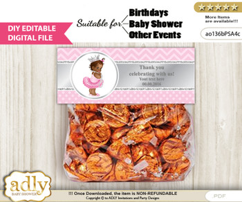 DIY Text Editable African Princess Goodie  Treat Bag Toppers, Favor Bag Digital File, print at home   h