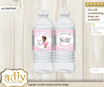 African Princess Water Bottle Wrappers, Labels for a Princess  Baby Shower, Pink Silver, Royal
